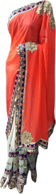 NEW LOOK DESINER Embriodered Fashion Synthetic Sari