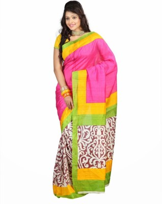 ST saree Solid Bhagalpuri Art Silk Sari