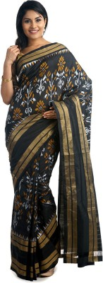 BlackBeauty Woven Pochampally Handloom Pure Silk Saree(Black, Gold) at flipkart
