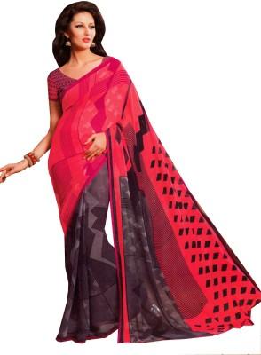 Charu Boutique Geometric Print Daily Wear Handloom Chiffon Sari
