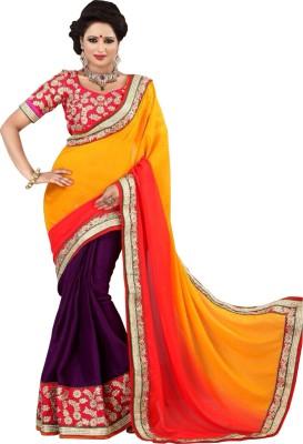 Shivam Textiles Embellished, Embriodered Fashion Chiffon, Lace Sari