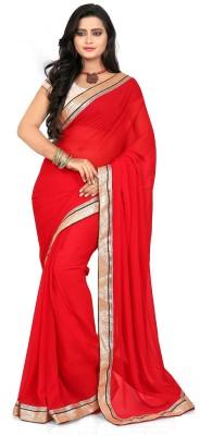 Murli Manohar Fashions Solid Bollywood Handloom Chiffon Sari
