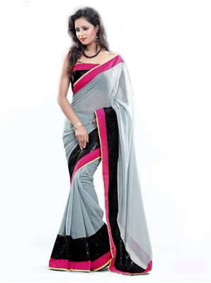 Uma Traders Plain Fashion Pure Chiffon Sari