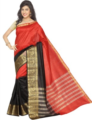Rani Saahiba Self Design Fashion Tussar Silk Sari(Red, Black)