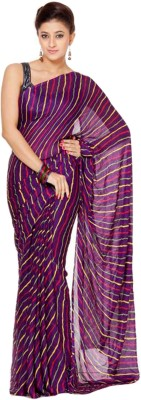 Panash Printed, Striped Leheria Georgette Sari