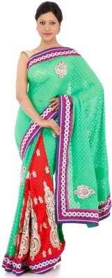 Chhabra 555 Self Design Fashion Georgette Sari