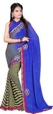 DEEPANJALI PRINTS Embriodered Phulkari Chiffon Sari