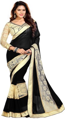Sourbh Sarees Self Design, Solid, Embroidered Fashion Synthetic Georgette, Brasso Fabric Saree(Black, Beige) at flipkart