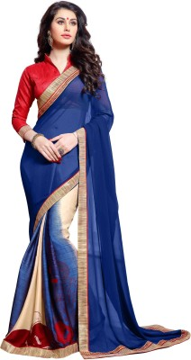 KL COLLECTION Plain Bollywood Georgette Sari