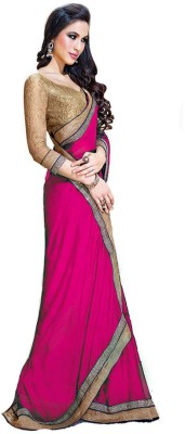 Awesome Fab Plain Fashion Georgette Sari