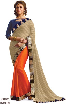 Sarees House Self Design, Embriodered Bollywood Chiffon Sari