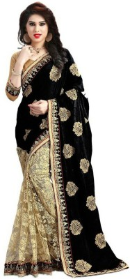 Pragati Fashion Hab Embroidered Fashion Georgette, Net Sari(Black)