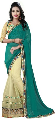 Amayra Fashions Solid, Embellished, Self Design Fashion Georgette, Net Sari