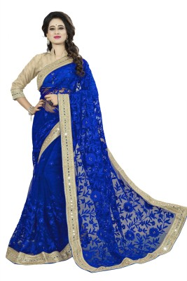 Rola Trendz Embroidered, Self Design Bollywood Net Saree(Blue)