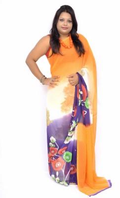 Gulmohaar Floral Print, Printed Bollywood Synthetic Georgette Sari