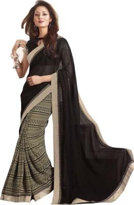 Saumya Designer Printed, Solid Bollywood Pure Georgette Sari