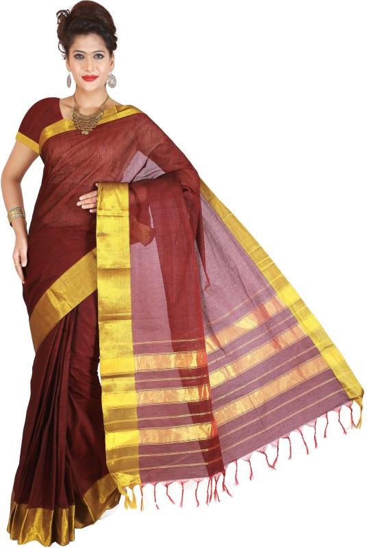Right Shape Solid Ilkal Handloom Cotton Saree(Maroon)