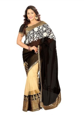 V-Art Embriodered Bollywood Synthetic Sari