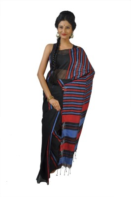 FabIndian Striped Tangail Handloom Silk Cotton Blend Sari