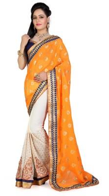Shoppershopee Embriodered Chanderi Georgette Sari