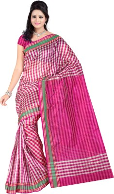Mamta Sarees Checkered Fashion Silk Cotton Blend Sari