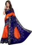 Kmozi Floral Print Bandhani Art Silk Sar...