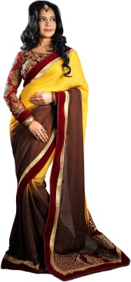 Jassu Fashion Hub Embriodered Fashion Georgette Sari