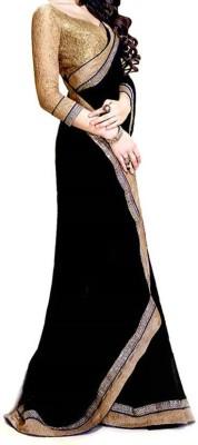 SwaruAndSanju Plain Fashion Georgette Sari