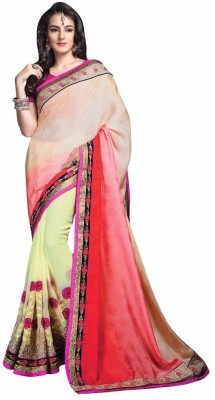 Mukta Mishree Exports Embriodered Fashion Jacquard, Georgette Sari