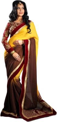Fabista Embriodered Fashion Georgette, Satin Sari