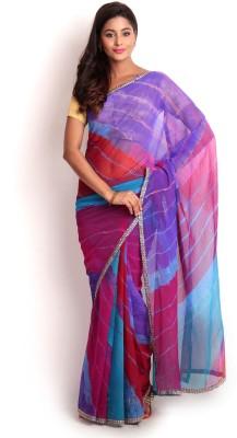 Kasturi-B Swadeshi Karigari Embriodered Leheria Georgette Sari