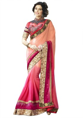 Kvsfab Embroidered Fashion Georgette Saree(Multicolor) at flipkart