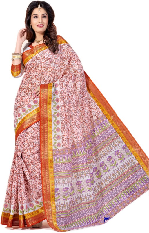 Aarti Apparels Printed Gadwal Cotton Saree(Red)