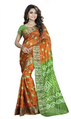 Keeps Creation Hand Painted Bandhej Silk Sari