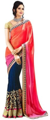 RockChin Fashions Embriodered Bollywood Chiffon Sari