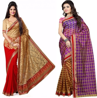 ZofeyFashion Striped Chanderi Brasso, Cotton Sari