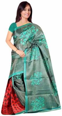 DFTZ Floral Print Bhagalpuri Printed Silk Sari