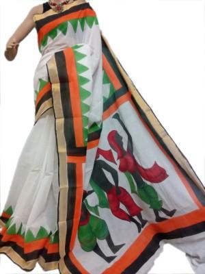 MCLS FASHION Hand Painted Fashion Cotton Sari