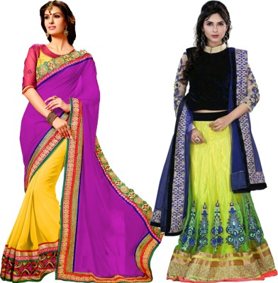 MAA CREATION Solid Fashion Net Sari