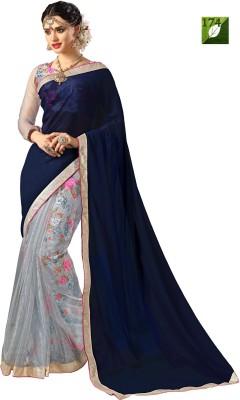 Rozdeal Printed Fashion Georgette, Net Sari