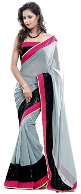 Ganes Striped Fashion Georgette Sari