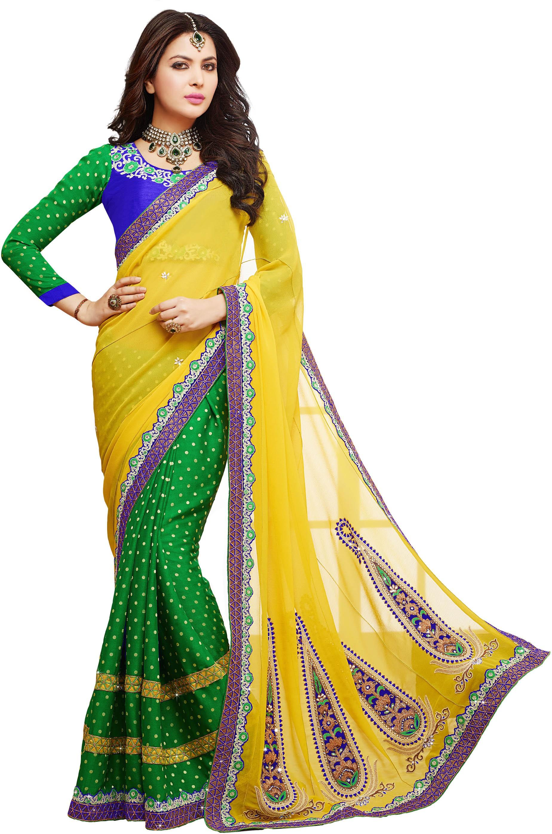 Kvsfab Self Design Fashion Georgette Saree(Green, Yellow)