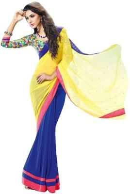 Lime Fashion Plain Fashion Handloom Georgette Sari