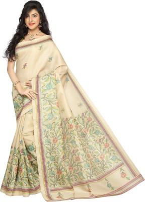 Rani Saahiba Printed Bhagalpuri Art Silk Sari(Beige, Pink)