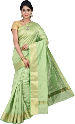 Pavechas Solid Banarasi Silk Cotton Blend Saree(Green) at flipkart