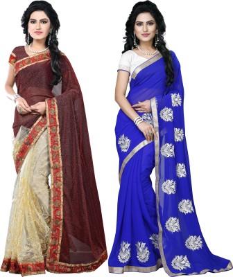 SNV Fashion Embriodered, Embellished Fashion Lycra, Net, Chiffon Sari