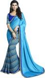 SHS Printed Fashion Georgette Saree (Blu...