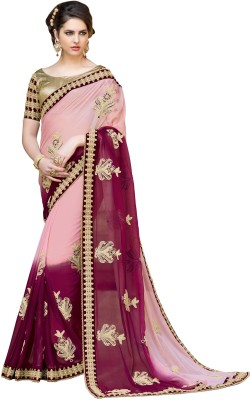 Jasleen Fashion Embellished, Embriodered Fashion Pure Chiffon, Lace, Brocade, Art Silk Sari