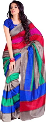 DB Retails Striped Daily Wear Art Silk Sari