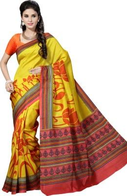 Rani Saahiba Printed Bhagalpuri Handloom Pure Silk, Dupion Silk Sari(Yellow)